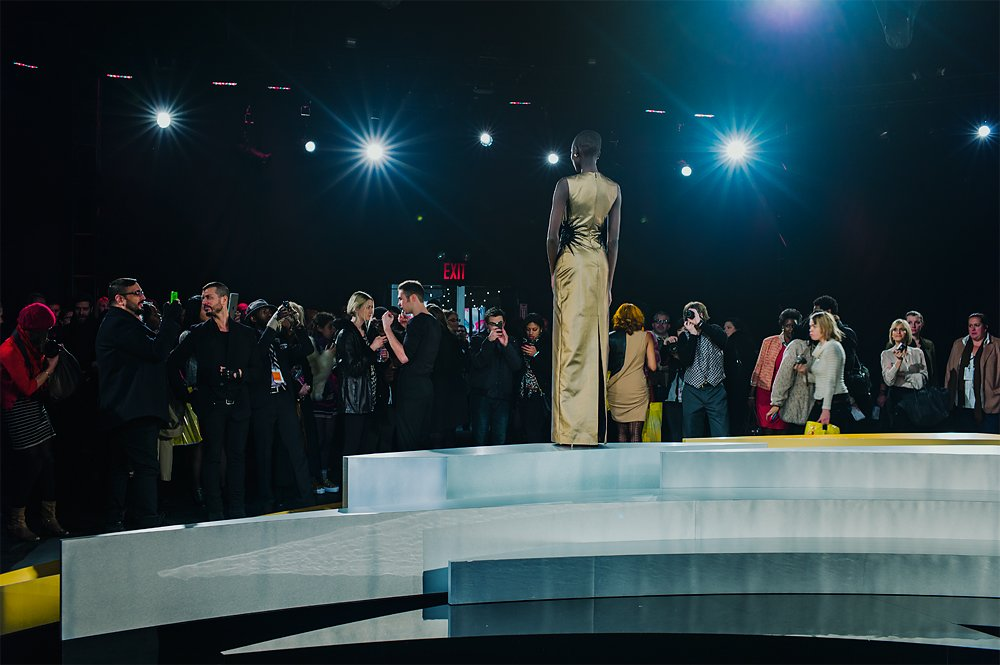 12th Febraury 2012, New York Fashion Week. The Box, End of Mathieu Mirano show. Only one model is standing on the stage and the designer is being interview. Photo by Giulia Bianchi
