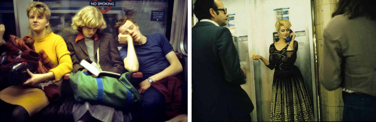 Bob Mazzer's photography in the tube from the 80s.