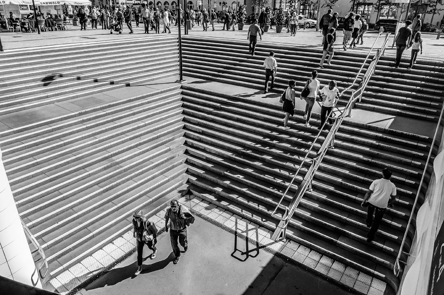 The Steps at the train station, Schwaebisch Gmuend/Germany by Nebil Kisa